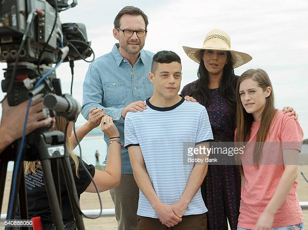 Rami Malek Christian Slater Carly Chaikin and Vaishnavi Sharma are seen on the set of 'Mr Robot' in Coney Island on June 16 2016 in New York City