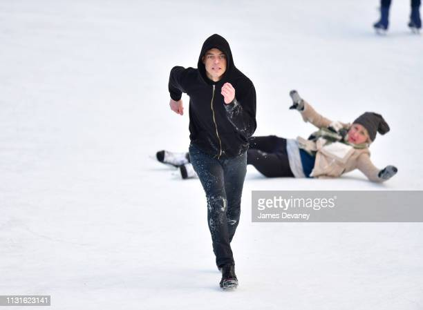 Rami Malek filming on location for 'Mr Robot' at Wollman Rink in Central Park on March 19 2019 in New York City