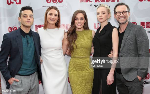 Rami Malek Grace Gummer Carly Chaikin Portia Doubleday and Christian Slater attend 'Mr Robot' FYC Screening at The Metrograph on June 8 2017 in New...