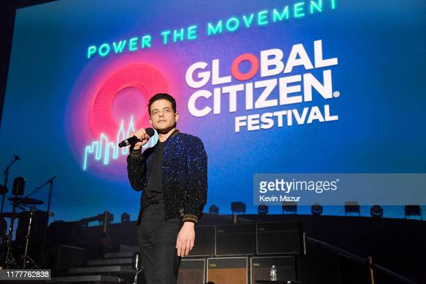 Rami Malek introduces Queen onstage during the 2019 Global Citizen Festival: Power The Movement in Central Park on September 28, 2019 in New York...