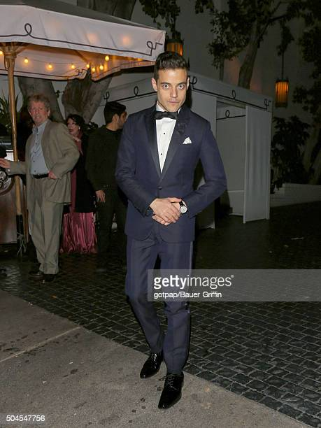 Rami Malek is seen arriving to WMA Golden Globes Party at Chateau Marmont on January 10 2016 in Los Angeles California
