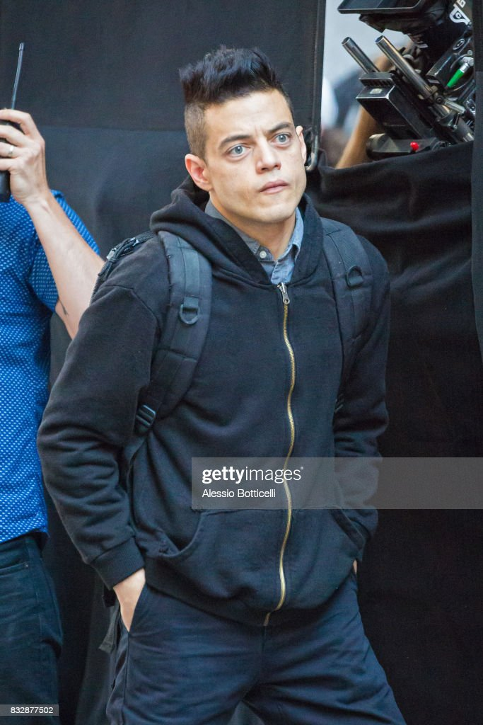 Rami Malek is seen filming 'Mr. Robot' on August 16, 2017 in New York City.