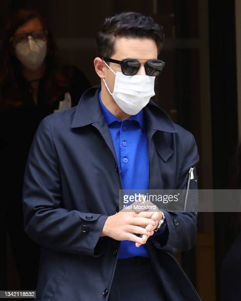 """Rami Malek is seen greeting fans outside his hotel whilst promoting """"No Time To Die"""" on September 23, 2021 in London, England."""