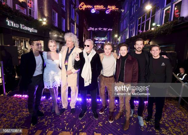 Rami Malek Lucy Boynton Brian May Roger Taylor Ben Hardy Joe Mazzello Gwilym Lee and Allen Leech attend the the Carnaby Street Bohemian Rhapsody...