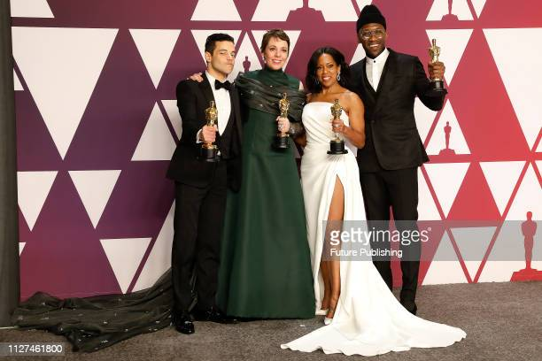 Rami Malek Olivia Colman Regina King Mahershala Ali pose in the press room at the 91st Annual Academy Awards at the Dolby Theatre in Hollywood...