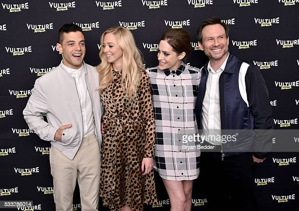 Rami Malek, Portia Doubleday, Carly Chaikin and Christian Slater attend Inside 'Mr. Robot' panel discussion the Vulture Festival at Milk Studios on...