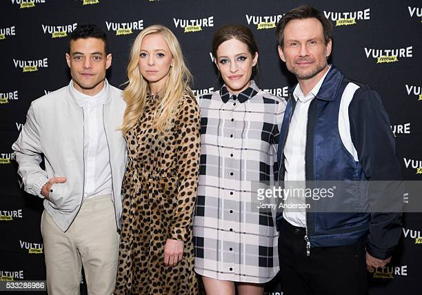 Rami Malek Portia Doubleday Carly Chaikin and Christian Slater attend Inside Mr Robot at the 2016 Vulture Festival at Milk Studios on May 21 2016 in...