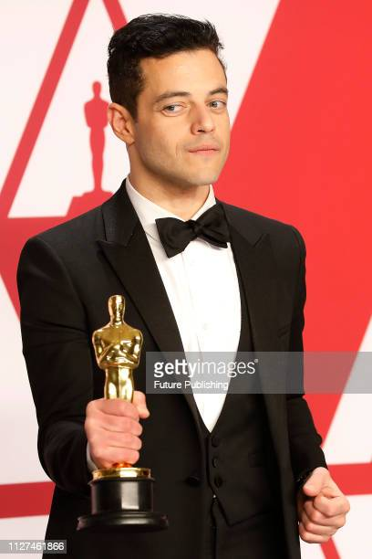 HOLLYWOOD CALIFORNIA FEBRUARY Bohemian Rhapsody poses in the press room at the 91st Annual Academy Awards at the Dolby Theatre in Hollywood...