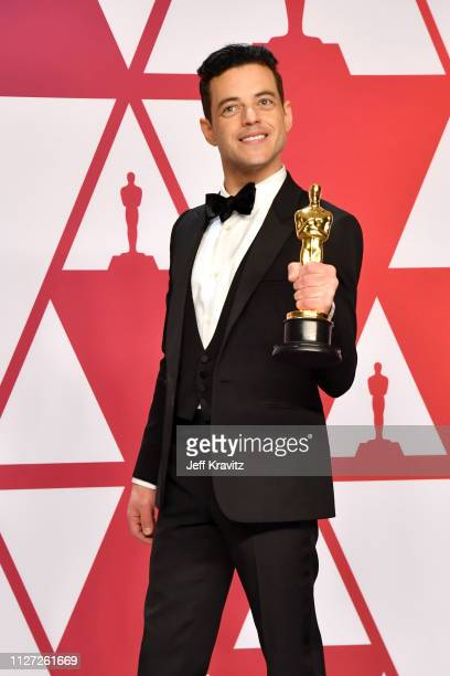 Rami Malek poses with the Best Actor award for Bohemian Rhapsody in the press room during at Hollywood and Highland on February 24 2019 in Hollywood...