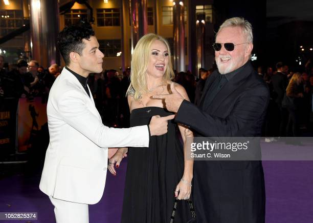Rami Malek Sarina Potgieter and Roger Taylor attend the World Premiere of 'Bohemian Rhapsody' at SSE Arena Wembley on October 23 2018 in London...