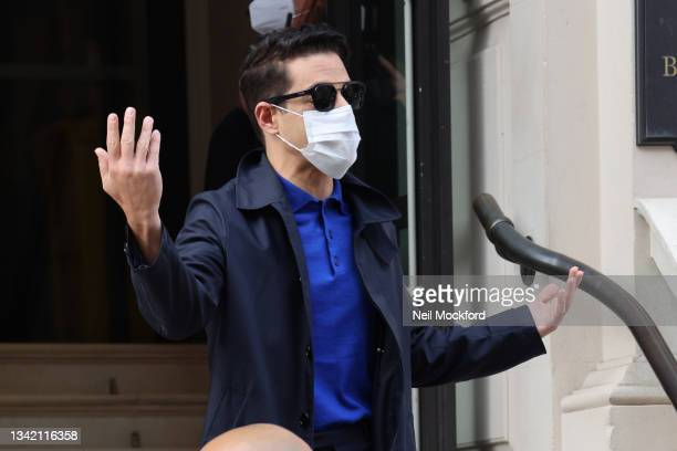 Rami Malek seen greeting fans outside his hotel whilst promoting new Bond Movie 'No Time To Die' on September 23, 2021 in London, England.