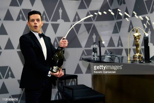 Rami Malek sprays champagne during the 91st Annual Academy Awards Governors Ball at Hollywood and Highland on February 24, 2019 in Hollywood,...