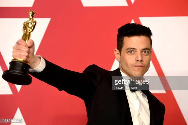 Rami Malek winner of Best Actor for 'Bohemian Rhapsody' attends the 91st Annual Academy Awards press room at Hollywood and Highland on February 24...
