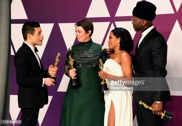 Rami Malek winner of Best Actor for Bohemian Rhapsody greets Olivia Colman winner of Best Actress for The Favourite Regina King winner of Best...