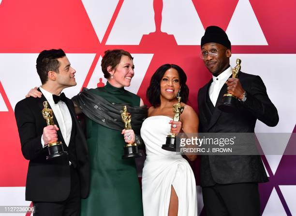 TOPSHOT Rami Malek winner of Best Actor for 'Bohemian Rhapsody' Olivia Colman winner of Best Actress for 'The Favourite' Regina King winner of Best...