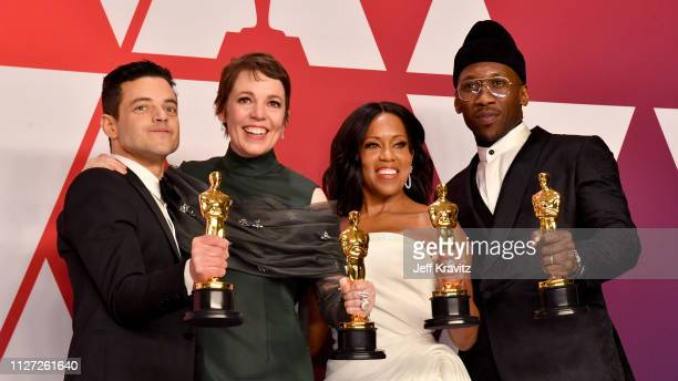 HOLLYWOOD CA FEBRUARY Rami Malek winner of Best Actor for 'Bohemian Rhapsody' Olivia Colman winner of Best Actress for 'The Favourite' Regina King...