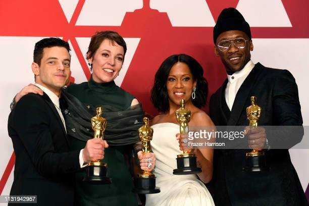 "Rami Malek, winner of Best Actor for ""Bohemian Rhapsody""; Olivia Colman, winner of Best Actress for ""The Favourite""; Regina King, winner of Best..."