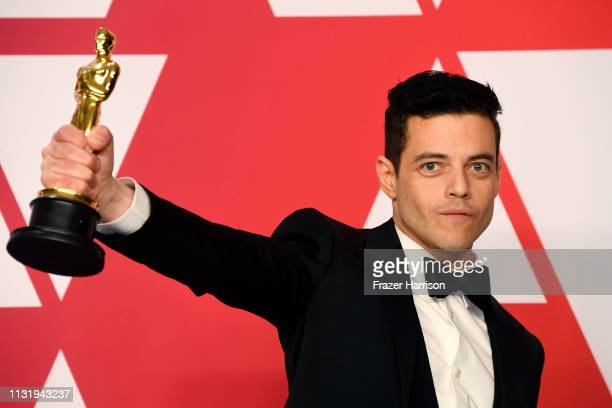 """Rami Malek, winner of Best Actor for """"Bohemian Rhapsody,"""" poses in the press room during the 91st Annual Academy Awards at Hollywood and Highland on..."""