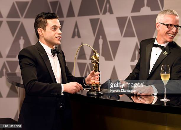Rami Malek winner of the Actor in a Leading Role award for 'Bohemian Rhapsody' attends the 91st Annual Academy Awards Governors Ball at Hollywood and...
