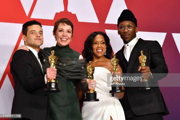 Rami Malek winner of the Best Actor award for Bohemian Rhapsody Olivia Colman winner of the Best Female Actor award for The Favourite Regina King...