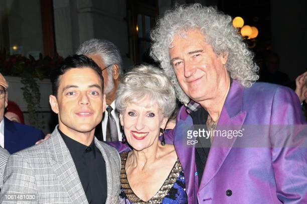 Rami Malik Anita Dobson and Brian May arriving at Bohemian Rhapsody premiere on October 30 2018 in New York City
