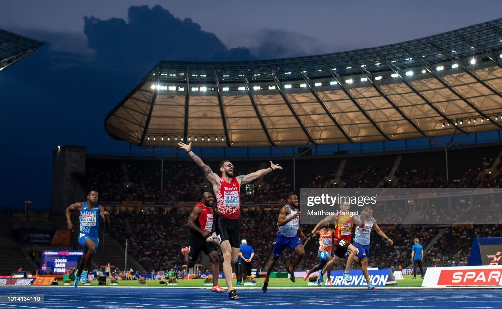 Ramil Guliyev of Turkey celebrates winning gold in the Men's 200m Final during day three of the 24th European Athletics Championships at Olympiastadion on August 9, 2018 in Berlin, Germany. This event forms part of the first multi-sport European Championships.