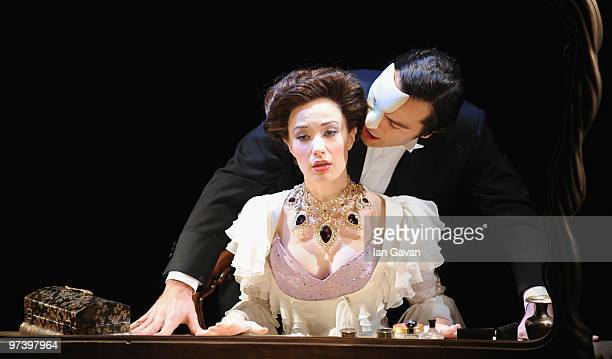 Ramin Karimloo and Sierra Boggess appear in the photocall for 'Love Never Dies' at the Adelphi Theatre on March 3 2010 in London England
