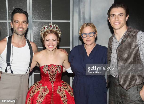 Ramin Karimloo as Gleb Christy Altomare as 'Anya' Patricia Arquette and Derek Klena as 'Dmitry' pose backstage at the hit musical 'Anastasia' on...