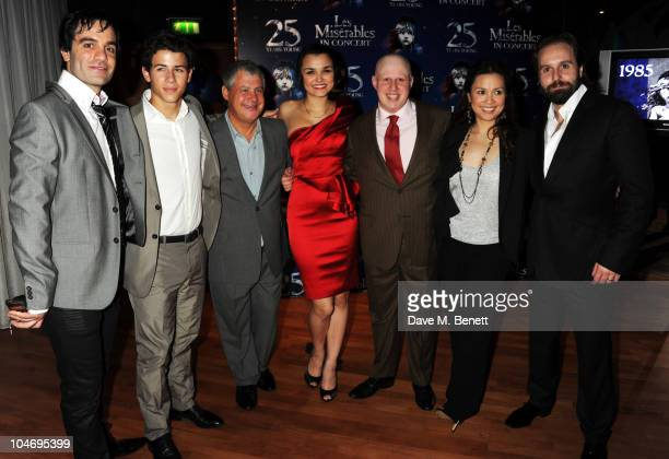 Ramin Karimloo Nick Jonas Cameron Mackintosh Samantha Barks Matt Lucas Lea Salonga and Alfie Boe attend the afterparty following the anniversary...