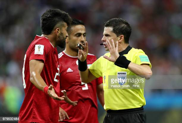 Ramin Rezaeian of Iran argues with Referee Andres Cunha during the 2018 FIFA World Cup Russia group B match between Iran and Spain at Kazan Arena on...