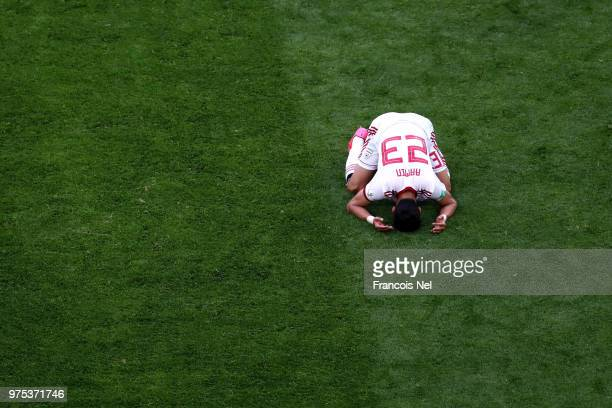 Ramin Rezaeian of Iran celebrates his side's win following the 2018 FIFA World Cup Russia group B match between Morocco and Iran at Saint Petersburg...