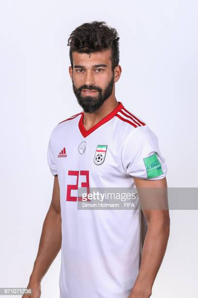 Ramin Rezaeian of Iran poses during the official FIFA World Cup 2018 portrait session at Bakovka Training Base on June 9 2018 in Moscow Russia