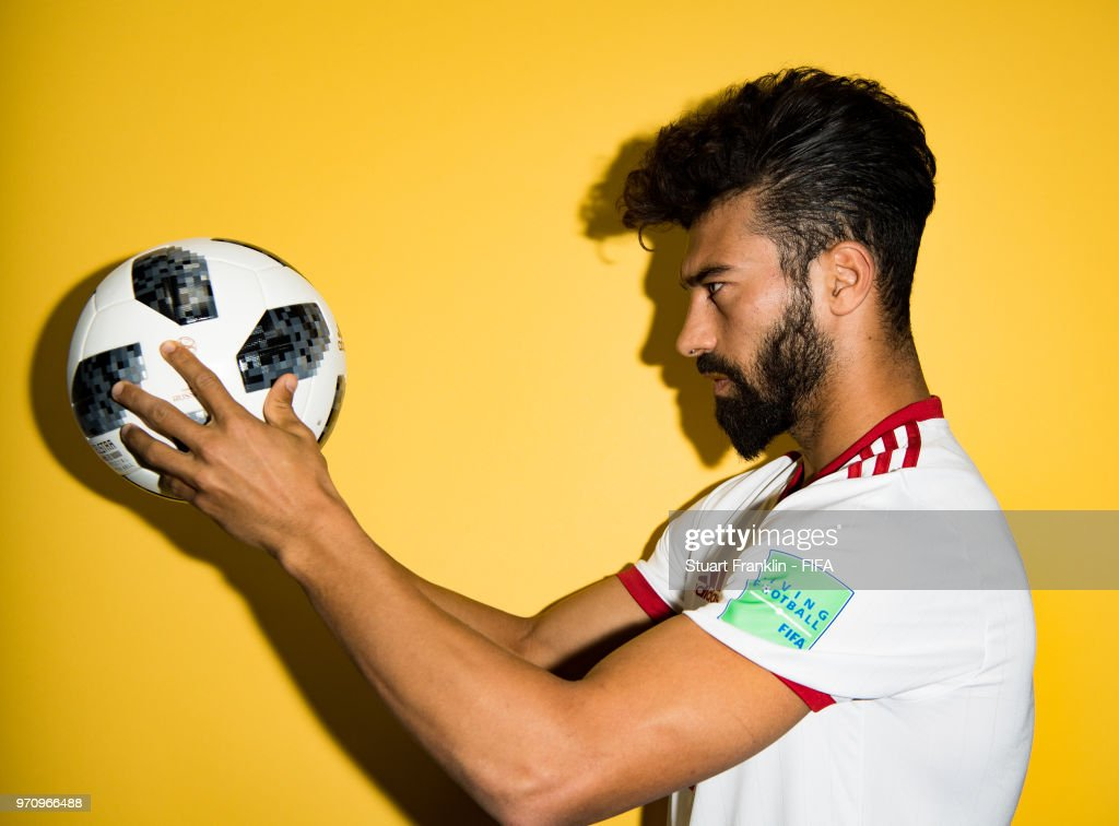 Ramin Rezaeian of Iran poses for a picture during the official FIFA World Cup 2018 portrait session at on June 9, 2018 in Moscow, Russia.