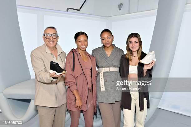 Ramine Hajipour, Allyson Felix, and storytellers attend a work out led by Megan Roup from The Sculpt Society as Olympian Allyson Felix opens Saysh's...