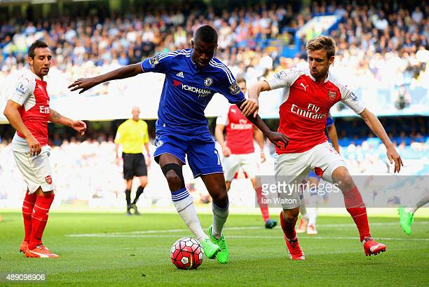 Ramires of Chelsea and Nacho Monreal of Arsenal compete for the ball during the Barclays Premier League match between Chelsea and Arsenal at Stamford...