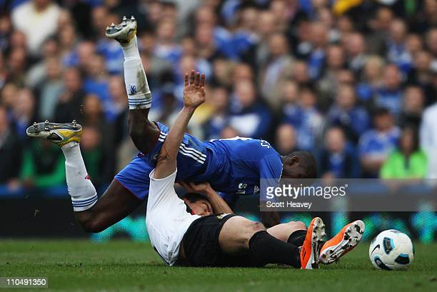 Ramires of Chelsea battles with Aleksandar Kolarov of Manchester City during the Barclays Premier League match between Chelsea and Manchester City at...