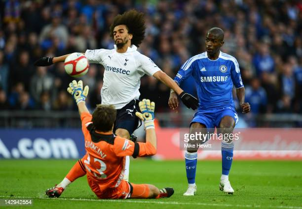 Ramires of Chelsea beats Carlo Cudicini and Benoit AssouEkotto of Tottenham Hotspur to scores their third goal during the FA Cup with Budweiser Semi...
