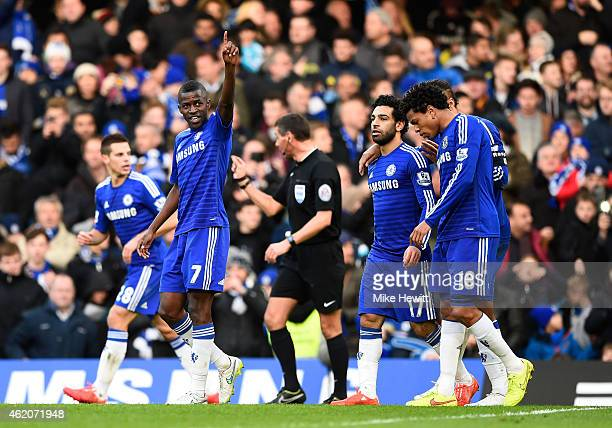 Ramires of Chelsea celebrates after scoring his team's second goal during the FA Cup Fourth Round match between Chelsea and Bradford City at Stamford...