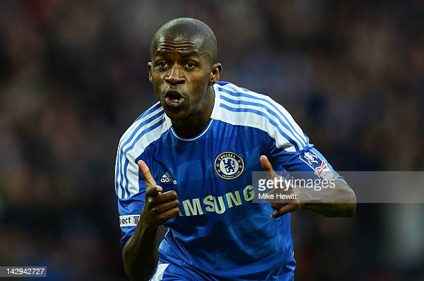 Ramires of Chelsea celebrates as he scores their third goal during the FA Cup with Budweiser Semi Final match between Tottenham Hotspur and Chelsea...