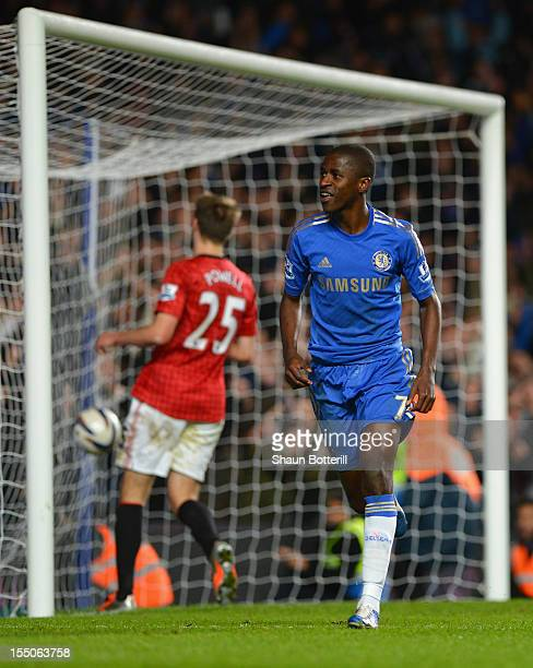 Ramires of Chelsea celebrates his goal during the Capital One Cup Fourth Round match between Chelsea and Manchester United at Stamford Bridge on...