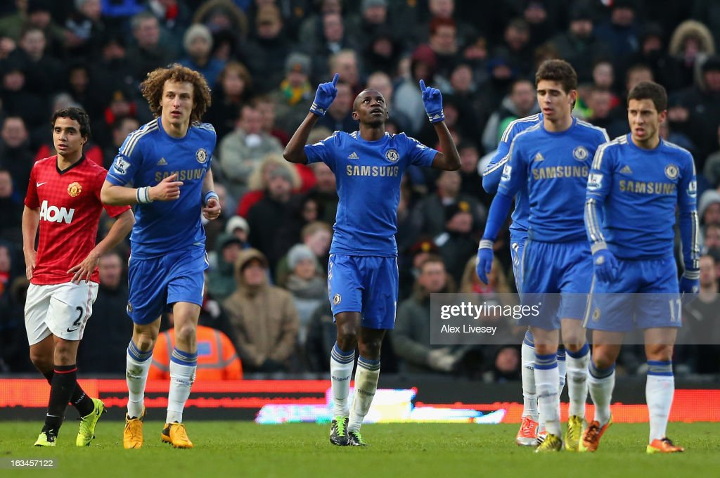 Ramires of Chelsea celebrates scoring his teaam's second goal during the FA Cup sponsored by Budweiser Sixth Round match between Manchester United and Chelsea at Old Trafford on March 10, 2013 in Manchester, England.