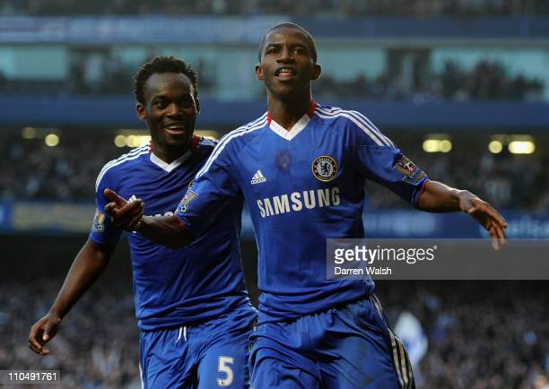 Ramires of Chelsea celebrates scoring his team's second goal with team mate Michael Essien during the Barclays Premier League match between Chelsea...