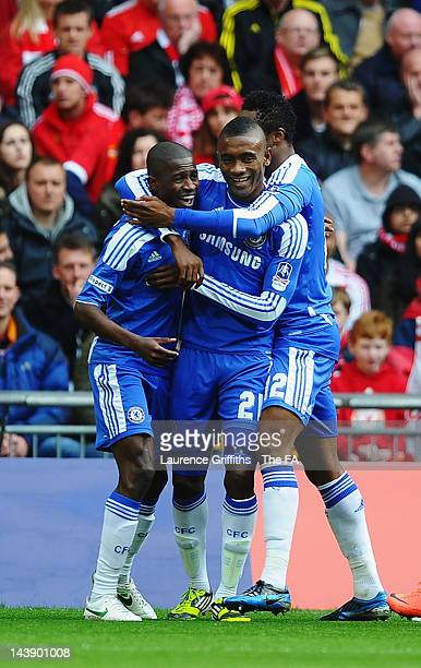 Ramires of Chelsea celebrates scoring the opening goal with team mates Salomon Kalou and John Obi Mikel during the FA Cup Final with Budweiser...