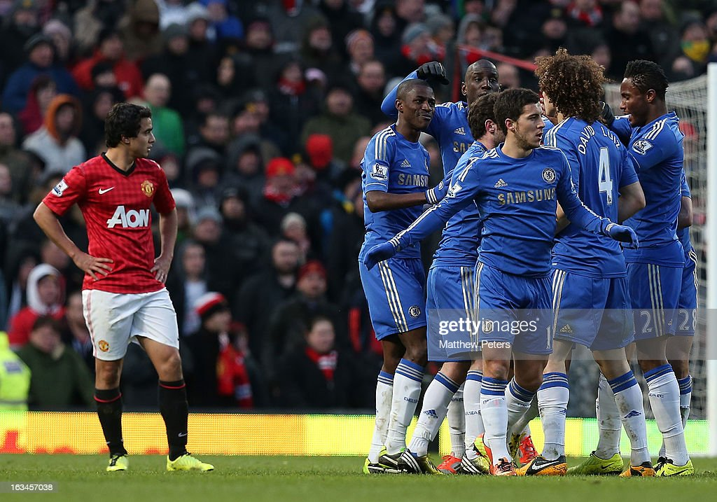 Ramires of Chelsea (C) celebrates scoring their second goal during the FA Cup Sixth Round match between Manchester United and Chelsea at Old Trafford on March 10, 2013 in Manchester, England.