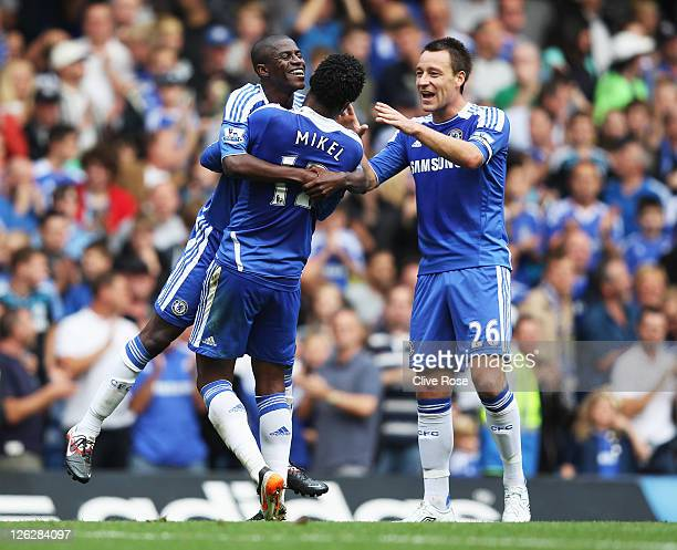 Ramires of Chelsea celebrates with John Obi Mikel and John Terry as he scores their second goal during the Barclays Premier League match between...
