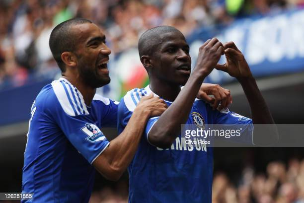 Ramires of Chelsea celebrates with Jose Bosingwa as he scores their second goal during the Barclays Premier League match between Chelsea and Swansea...