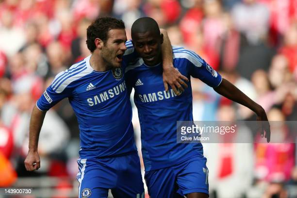 Ramires of Chelsea celebrates with Juan Mata as he scores their first goal during the FA Cup with Budweiser Final match between Liverpool and Chelsea...