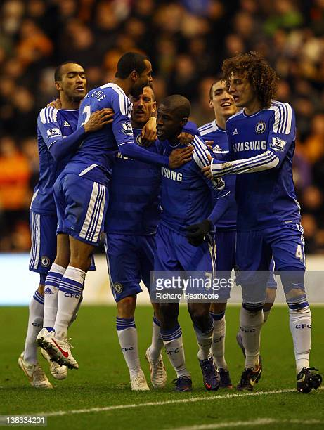 Ramires of Chelsea celebrates with team mates as he scores their first goal during the Barclays Premier League match between Wolverhampton Wanderers...