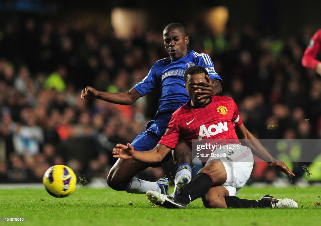 Ramires of Chelsea challenges Patrice Evra of Manchester United during the Barclays Premier League match between Chelsea and Manchester United at Stamford Bridge on October 28, 2012 in London, England.