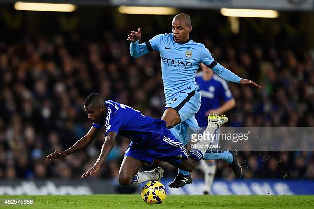 Ramires of Chelsea is brought down by Fernando of Manchester City during the Barclays Premier League match between Chelsea and Manchester City at...